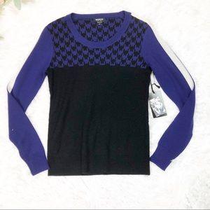 Worth Purple Black Houndstooth Wool Sweater